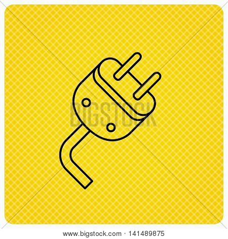 Electric plug icon. Electricity power sign. Cord energy symbol. Linear icon on orange background. Vector