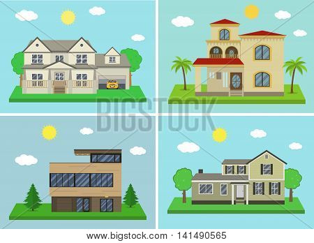 Cottage house building set. Flat design style. Traditional and modern house. Vector illustration