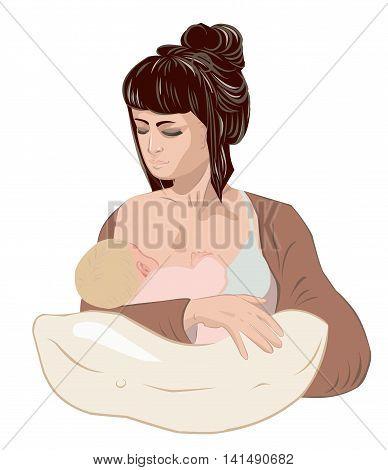 Mother carefully breastfeeding her newborn baby child holding little girl in caring hands using tender nursing pillow.