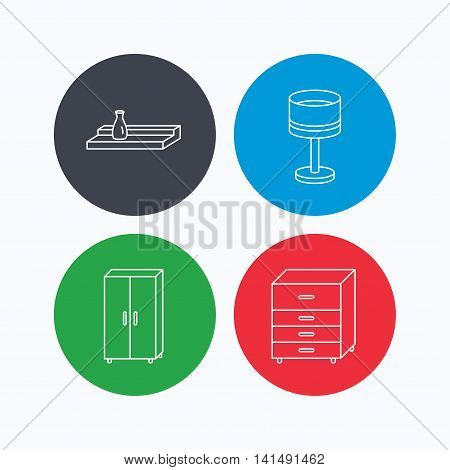 Table lamp, cupboard and wall shelf icons. Chest of drawers linear sign. Linear icons on colored buttons. Flat web symbols. Vector