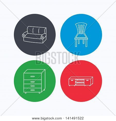 Sofa, chair and chest of drawers icons. TV table linear sign. Linear icons on colored buttons. Flat web symbols. Vector