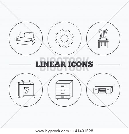 Sofa, chair and chest of drawers icons. TV table linear sign. Flat cogwheel and calendar symbols. Linear icons in circle buttons. Vector