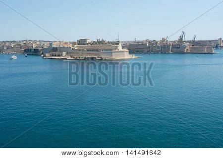 View of the fort opposite of Valletta.