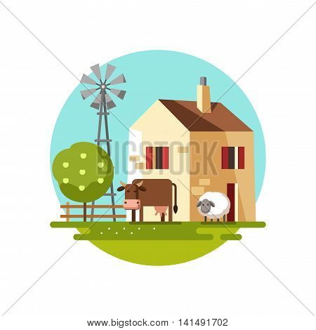 Farm house. Colored template with farm landscape. Vector illustration.