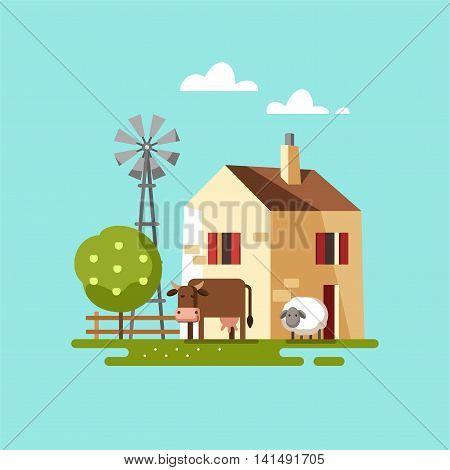 Farm house. Colored template with farm landscape. Vector illustration.