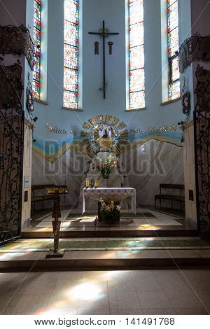 Debowiec Poland - July 20 2016: Part of the interior of the Basilica of Our Lady of La Salette in Debowiec in Poland. Fathers Missionaries of La Salette