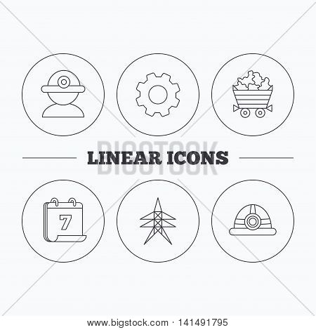 Worker, minerals and engineering helm icons. Electricity station linear sign. Flat cogwheel and calendar symbols. Linear icons in circle buttons. Vector