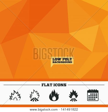 Triangular low poly orange background. Fire flame icons. Heat symbols. Inflammable signs. Calendar flat icon. Vector