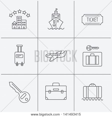 Hotel, cruise ship and airplane icons. Key, baggage and briefcase linear signs. Luggage security and ticket flat line icons. Linear icons on white background. Vector