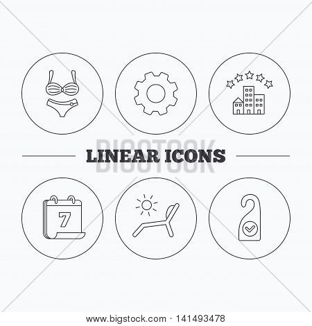 Hotel, lingerie and beach deck chair icons. Clean room linear sign. Flat cogwheel and calendar symbols. Linear icons in circle buttons. Vector