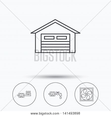 Ventilation, garage and water counter icons. Gas counter linear sign. Linear icons in circle buttons. Flat web symbols. Vector
