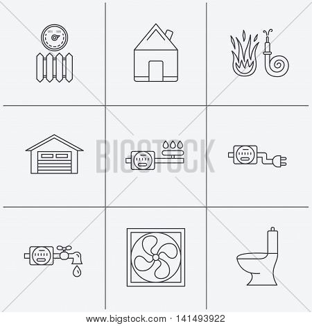 Ventilation, garage and heat radiator icons. Gas, water and electricity counter linear signs. Real estate, toilet and fire hose icons. Linear icons on white background. Vector