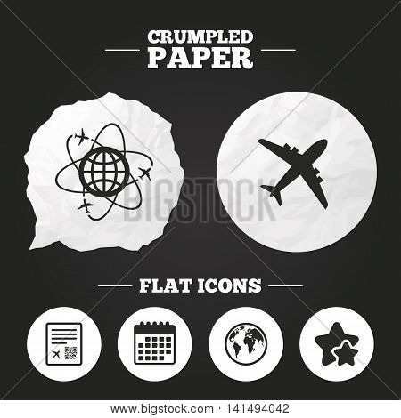 Crumpled paper speech bubble. Airplane icons. World globe symbol. Boarding pass flight sign. Airport ticket with QR code. Paper button. Vector