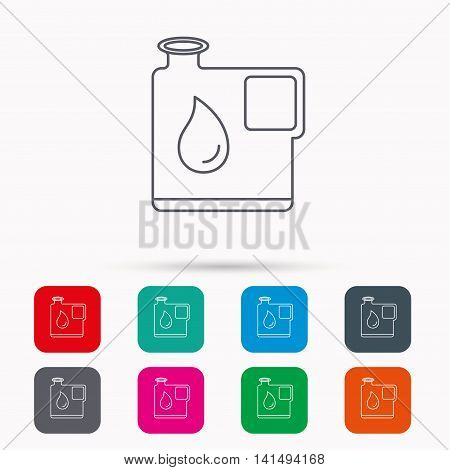 Jerrycan icon. Petrol fuel can with drop sign. Linear icons in squares on white background. Flat web symbols. Vector