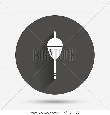 Fishing sign icon. Float bobber symbol. Fishing tackle. Circle flat button with shadow. Vector