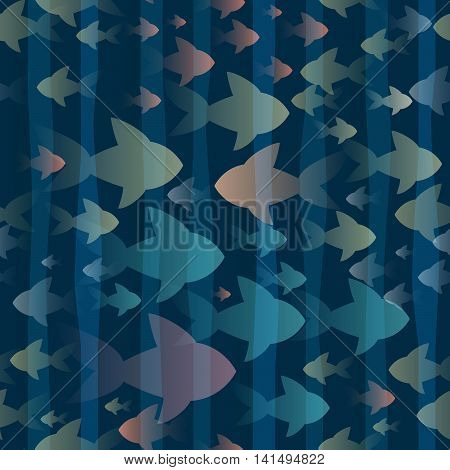Seamless pattern with swimmimg fishes in ocean water.