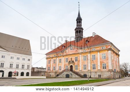 Old Building Of Town Hall. Narva Town, Estonia