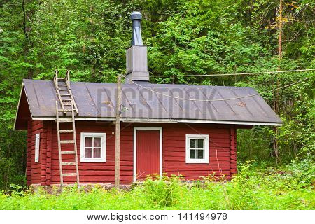 Traditional Scandinavian Red Wooden House