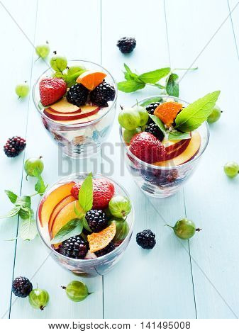 Glasses with fruit berry parfait. Shallow dof.
