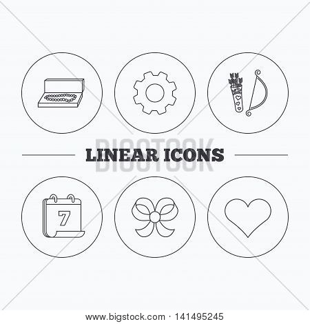 Love heart, jewelry and bow-knot icons. Valentine amour arrows linear sign. Flat cogwheel and calendar symbols. Linear icons in circle buttons. Vector