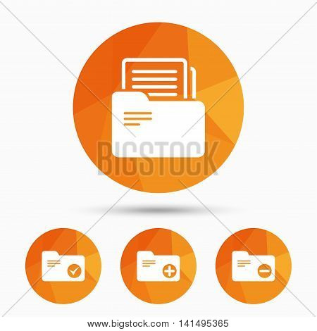 Accounting binders icons. Add or remove document folder symbol. Bookkeeping management with checkbox. Triangular low poly buttons with shadow. Vector
