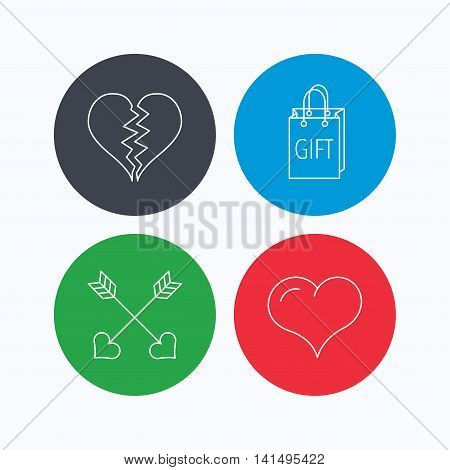 Love heart, gift box and arrows icons. Broken heart or divorce linear signs. Linear icons on colored buttons. Flat web symbols. Vector
