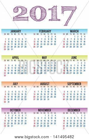 vector calendar 2017. Simple template on white isolated background. With Sunday as first day of week.