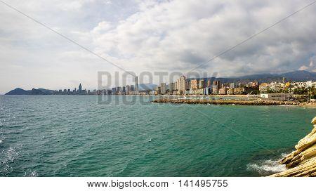 The coast of Mediterranean resort Benidorm province of Alicante Spain