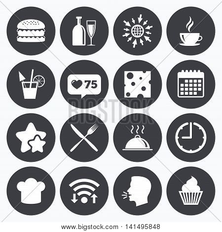 Calendar, wifi and clock symbols. Like counter, stars symbols. Food, drink icons. Coffee and hamburger signs. Cocktail, cheese and cupcake symbols. Talking head, go to web symbols. Vector