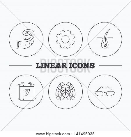 Glasses, neurology and trichology icons. Weight loss linear sign. Flat cogwheel and calendar symbols. Linear icons in circle buttons. Vector