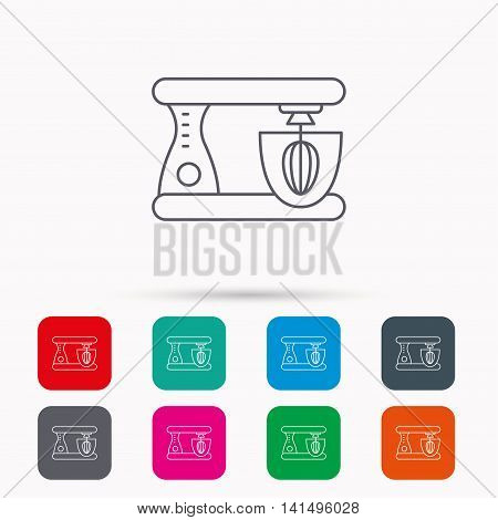 Mixer icon. Electric blender sign. Linear icons in squares on white background. Flat web symbols. Vector