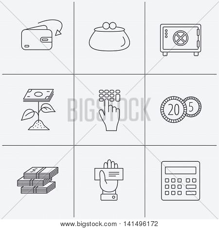 Cash money, safe box and calculator icons. Safe box, cheque and dollar usd linear signs. Profit investment, wallet and coins icons. Linear icons on white background. Vector