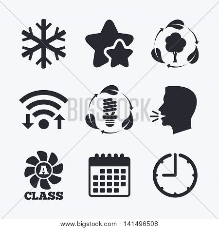 Fresh air icon. Forest tree with leaves sign. Fluorescent energy lamp bulb symbol. A-class ventilation. Air conditioning symbol. Wifi internet, favorite stars, calendar and clock. Talking head. Vector