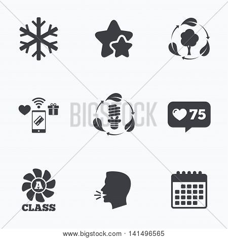 Fresh air icon. Forest tree with leaves sign. Fluorescent energy lamp bulb symbol. A-class ventilation. Air conditioning symbol. Flat talking head, calendar icons. Stars, like counter icons. Vector