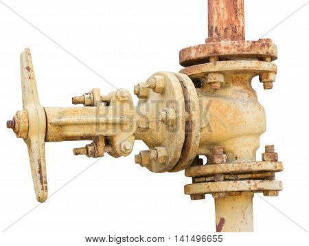 the Old industrial valve on white background