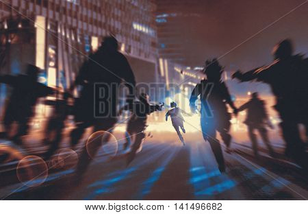 man running away from zombies in night cityillustrationdigital painting