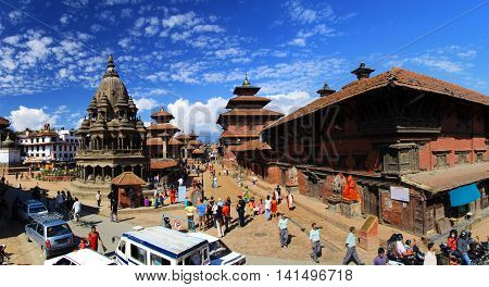 Patan Durbar Square in Kathmandu , Nepal . A UNESCO World Heritage Site