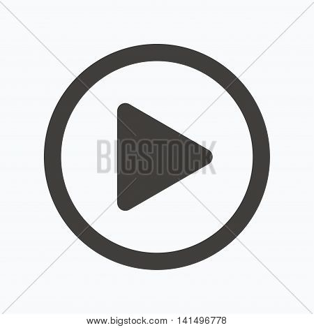 Play icon. Audio or Video player symbol. Gray flat web icon on white background. Vector