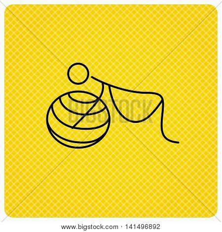 Gymnastic for pregnant icon. Pilates fitness sign. Sport workout symbol. Linear icon on orange background. Vector