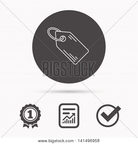 Price tag icon. Discount label sign. Shopping coupon symbol. Report document, winner award and tick. Round circle button with icon. Vector