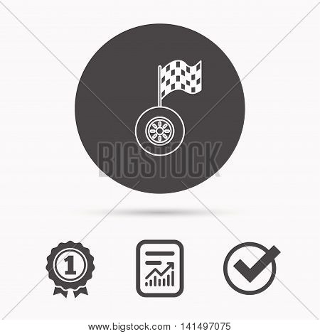Race icon. Wheel with racing flag sign. Report document, winner award and tick. Round circle button with icon. Vector