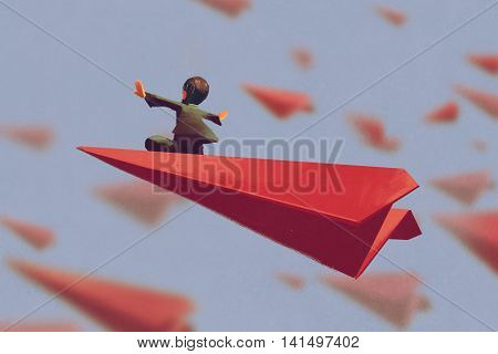 man sitting on red airplane paper in the sky, illustration painting