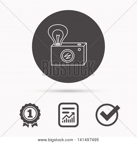 Retro photo camera icon. Photographer equipment sign. Camera with lamp flash. Report document, winner award and tick. Round circle button with icon. Vector