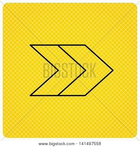 Right arrow icon. Next sign. Forward direction symbol. Linear icon on orange background. Vector