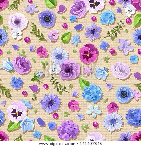 Vector seamless pattern with blue and purple pansies, cornflowers, lisianthuses, bluebells and hydrangea flowers on a sacking background.