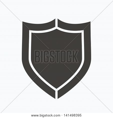 Shield protection icon. Defense equipment symbol. Gray flat web icon on white background. Vector