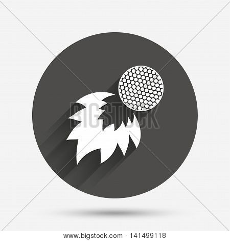 Golf fireball sign icon. Sport symbol. Circle flat button with shadow. Vector
