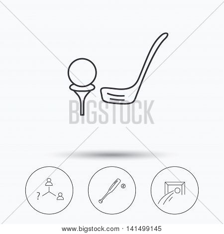 Football, golf and baseball icons. Vacancy linear sign. Linear icons in circle buttons. Flat web symbols. Vector