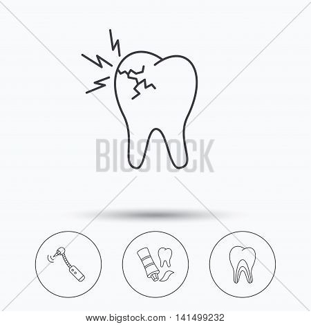 Toothpaste, dental tubules and toothache icons. Drilling tool linear sign. Linear icons in circle buttons. Flat web symbols. Vector