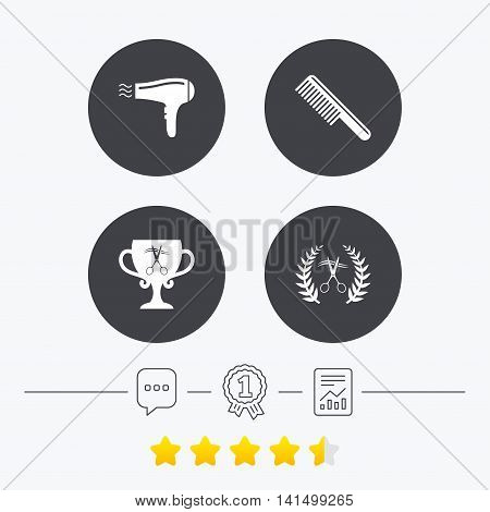 Hairdresser icons. Scissors cut hair symbol. Comb hair with hairdryer symbol. Barbershop laurel wreath winner award. Chat, award medal and report linear icons. Star vote ranking. Vector